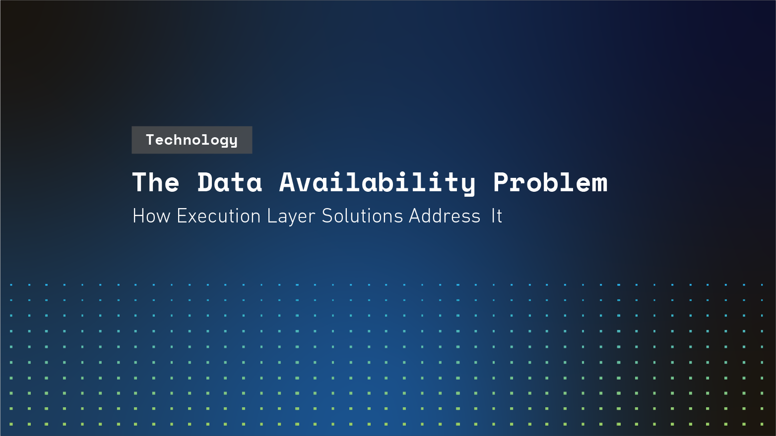 The Data Availability Problem