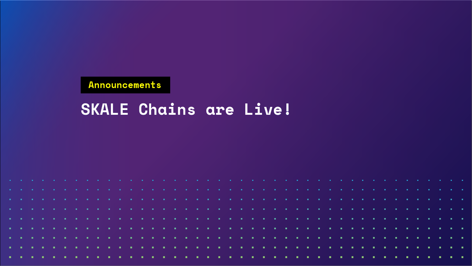 SKALE Chains are Live!