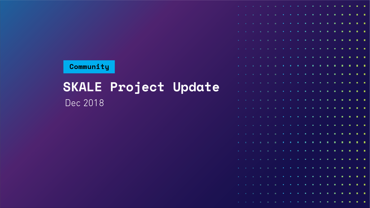 SKALE Project Update — December 2018