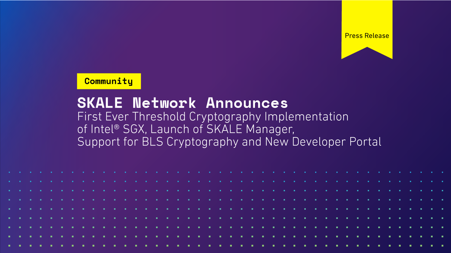 SKALE announces first ever threshold cryptography implementation Intel® SGX, launch of SKALE Manager, support for BLS Cryptography and new developer portal.