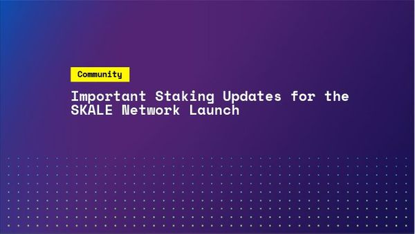 Important Staking Updates for the SKALE Network Launch