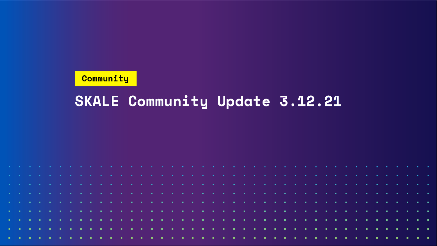 SKALE community update 3.12.2021