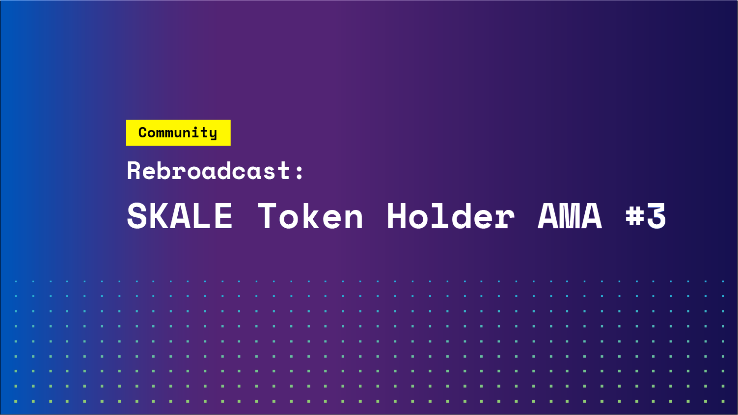 Rebroadcast: SKALE Token Holder AMA #3